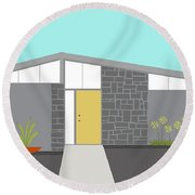 Mid Century Modern House 2 Round Beach Towel