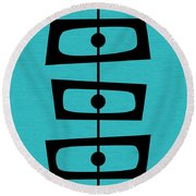 Mid Century Shapes On Turquoise Round Beach Towel