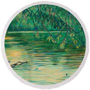 Round Beach Towel featuring the painting Mid-spring On The New River by Kendall Kessler