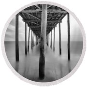 Midday Under The Pier Round Beach Towel