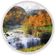 Middle Falls At Letchworth State Park Round Beach Towel