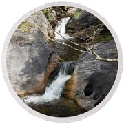 Middle Kent Falls Round Beach Towel