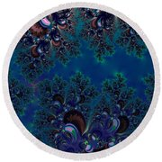 Midnight Blue Frost Crystals Fractal Round Beach Towel
