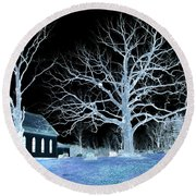 Midnight Country Church Round Beach Towel