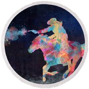 Midnight Cowgirls Ride Heaven Help The Fool Who Did Her Wrong Round Beach Towel by Nikki Marie Smith