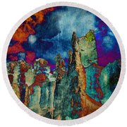 Midnight Fires Round Beach Towel