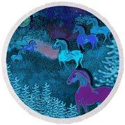 Midnight Horses Round Beach Towel by Carol Jacobs