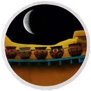 Midnight In Taos Round Beach Towel