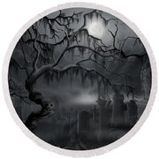 Midnight In The Graveyard  Round Beach Towel