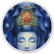 Midnight Meditation Kuan Yin Round Beach Towel by Sue Halstenberg