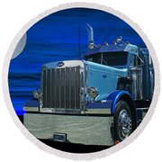 Midnight Peterbilt Round Beach Towel