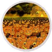 Midnight Pumpkin Patch Round Beach Towel by Carol Jacobs