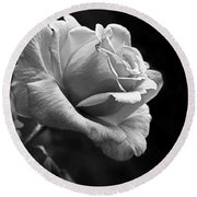 Midnight Rose In Black And White Round Beach Towel