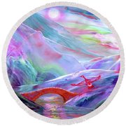 Round Beach Towel featuring the painting   Midnight Silence, Flying Goose by Jane Small