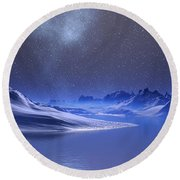 Midnight Snow Round Beach Towel