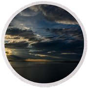 Midnight Sun Over Cook Inlet Round Beach Towel by Andrew Matwijec