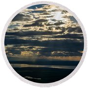 Midnight Sun Over Mount Susitna Round Beach Towel
