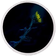 Midnight Sunflower Round Beach Towel