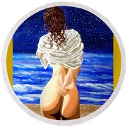 Round Beach Towel featuring the painting Midnight Swim by Jackie Carpenter