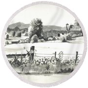 Round Beach Towel featuring the painting Midsummer View Out Route Jj   No I101 by Kip DeVore