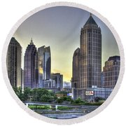 Midtown Atlanta Sunrise Round Beach Towel by Reid Callaway