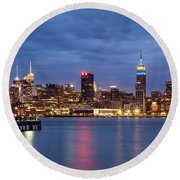 Midtown Manhattan Round Beach Towel by Mihai Andritoiu