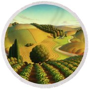 Midwest Vineyard Round Beach Towel by Robin Moline