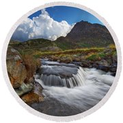 Mighty Tryfan  Round Beach Towel by Beverly Cash