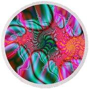 Round Beach Towel featuring the digital art Migraine by Elizabeth McTaggart
