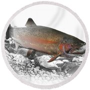 Migrating Steelhead Rainbow Trout Round Beach Towel by Randall Nyhof