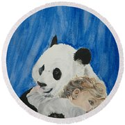 Mika And Panda Round Beach Towel by Tamir Barkan