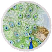 Mika And Peacock Round Beach Towel by Tamir Barkan