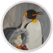 Mika And Penguin Round Beach Towel by Tamir Barkan