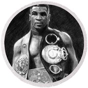 Mike Tyson Pencil Drawing Round Beach Towel
