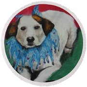 Round Beach Towel featuring the painting Mikey by Jeanne Fischer