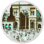 Round Beach Towel featuring the photograph Milan Gallery by Silvia Ganora