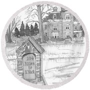 Mile Marker And Victorian Round Beach Towel