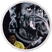Round Beach Towel featuring the painting More Miles Of Davis by Thomas J Herring