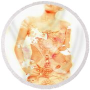 Round Beach Towel featuring the digital art Miley by Brian Reaves