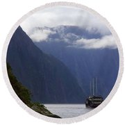 Round Beach Towel featuring the photograph Milford Sound by Stuart Litoff