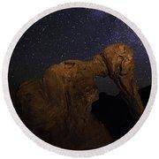 Milky Way Over The Elephant 2 Round Beach Towel