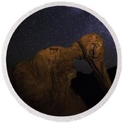 Milky Way Over The Elephant 2 Round Beach Towel