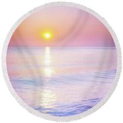 Round Beach Towel featuring the photograph Milky Sunset by Lilia D