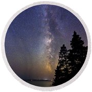 Milky Way At Acadia National Park Round Beach Towel