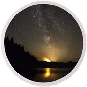 Milky Way At Crafnant 2 Round Beach Towel by Beverly Cash