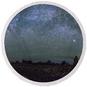 Milky Way At Mono Lake Round Beach Towel