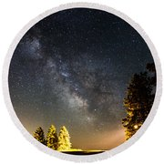 Milky Way From Oldham South Dakota Usa Round Beach Towel