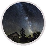 Milky Way Over Foster Covered Bridge Round Beach Towel
