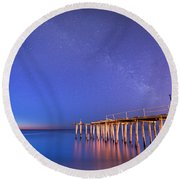 Milky Way Sunrise Round Beach Towel by Michael Ver Sprill