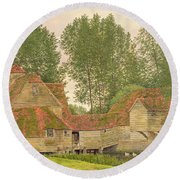 Mill On The Thames At Mapledurham, 1860 Round Beach Towel